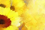 pic of abstract painting  - Abstract oil painting golden sunflower for background - JPG