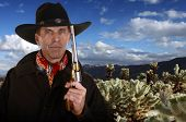 stock photo of gunslinger  - cowboy with gold and silver colored pistol in cholla garden in Joshua tree National Park - JPG