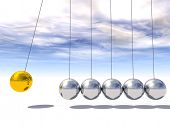 image of newton  - Concept or conceptual 3D metal silver and gold creative sphere Newton cradle pendulum over a sky background - JPG