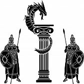 pic of hoplite  - warriors and dragon - JPG