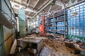 picture of nuclear disaster  - office in Jupiter Factory in Pripyat ghost town Chernobyl Nuclear Power Plant Zone of Alienation Ukraine - JPG