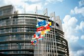 picture of tilt  - Flags in front of the European Parliament Flags in front of the European Parliament Strasbourg Alsace France - JPG