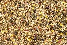 pic of feeding horse  - Detailed view of horse feed mix for sale in a market stall - JPG