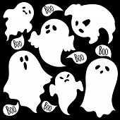 stock photo of spooky  - A set of spooky ghosts on a white background - JPG