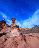 stock photo of goat horns  - Unique outcrops  in the mountains of pink sandstone - JPG