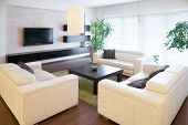foto of comfort  - Comfortable white sofas at living room - JPG