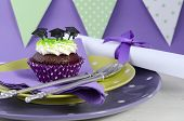 picture of graduation  - Graduation Day green and purple theme party with cupcakes and graduation cap toppers - JPG