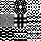 stock photo of grids  - Set of 9 abstract geometric patterns - JPG