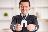 picture of model home  - Smiling realtor man is holding a model of home - JPG