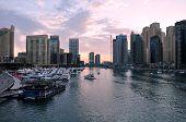 Постер, плакат: A skyline view of Dubai Marina showing the Marina