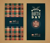 stock photo of congratulations  - Happy birthday congratulations vintage retro background with geometric pattern - JPG