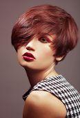 pic of fine art portrait  - Beautiful woman portrait with fashion haircut and creative trendy make - JPG