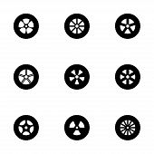 foto of train-wheel  - Vector wheel icon set on white background - JPG