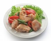 stock photo of kidney beans  - Roasted turkey with paprika kidney bean and fresh green lettuce on the white plate - JPG