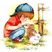 image of congratulation  - Baby Boy And Bunny - JPG