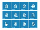 picture of fingerprint  - Fingerprint icons on blue background - JPG