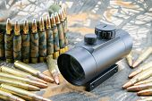 pic of hollow point  - composition with rifle ammunition and red dot sight - JPG
