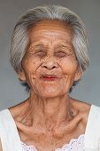 picture of wrinkled face  - Portrait old asian woman close up of wrinkled face  - JPG