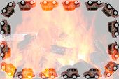 picture of firemen  - Frame of Fireman toy cars - JPG