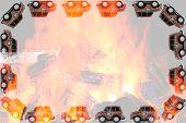 stock photo of fireman  - Frame of Fireman toy cars - JPG