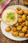 foto of pretzels  - Pretzel rolls homemade cheese dip from cheddar with beer and mustard - JPG
