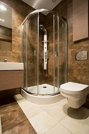 pic of douche  - Glass douche and ceramic toilet in luxury bathroom - JPG