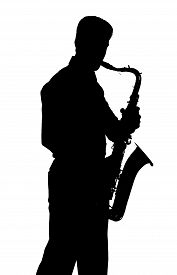pic of saxophone player  - Saxophone amorous player silhouette isolated on white background - JPG