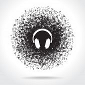 Concept music. Music background with headphones and musical notes. File is saved in 10 EPS version.  poster
