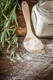 stock photo of oats  - Oat flour - JPG