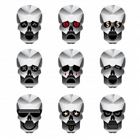 picture of skull  - Happy skull emoticons - JPG