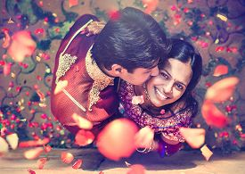 stock photo of indian  - Indian couple in traditional wear - JPG