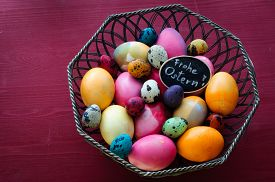 stock photo of chicken-wire  - Colorful Chicken And Quail Eggs  - JPG