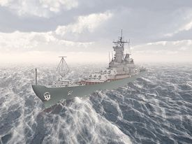 image of battleship  - Computer generated 3D illustration with an American battleship of World War II in the stormy ocean - JPG