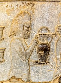 picture of tribute  - Armenian tribute relief detail on the stairway facade of the Apadana at the old city Persepolis - JPG