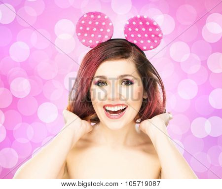 Beautiful young smiling woman in