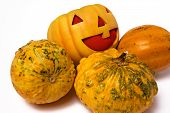 foto of jack-o-laterns-jack-o-latern  - Funny Pumpkin in a boring group of them - JPG
