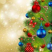 Постер, плакат: Рождественские фон с Фенечки и Рождественская елка