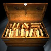 pic of treasure chest  - treasure chest filled with gold ingots - JPG