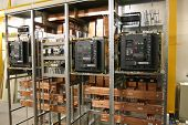 picture of busbar  - circuit board with copper busbar insulators and electrical equipment - JPG