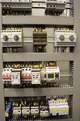 stock photo of busbar  - new industrial control panel for medium voltage - JPG