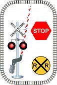 image of caboose  - Railroad track and crossing guard with stop sign and crossing sign - JPG