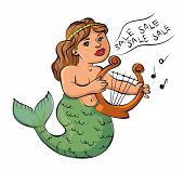 ������, ������: Mermaid Playing A Harp And Sings About The Sale