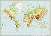 Detailed Physical World Map Retro Colors. No Bathymetry poster
