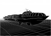 stock photo of hydrofoil  - Hydrofoil Tourist Cruise Speedboat Isolated Illustration Vector - JPG