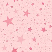 Pink Stars Seamless Pattern On Light Pink Background. Magnetic Endless Random Scattered Pink Stars F poster