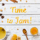 Food Typography Time To Jam With Cookies, Tea And Spices On White Wooden Rustic Background. Christma poster