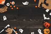 Halloween Sweets, Halloween Cards And Decoration Made Of Craft Paper. Copy Space poster