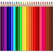 Color Pencils Set On White Background. 24 Color Pencils 24 Color Pencil All Colors Of The Rainbow, I poster