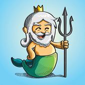 stock photo of poseidon  - cute happy poseidon is holding the trident - JPG