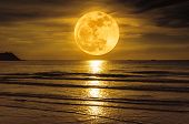 Super Moon. Colorful Sky With Cloud And Bright Full Moon Over Seascape. poster